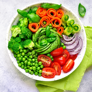 bowl of uncooked vegetables