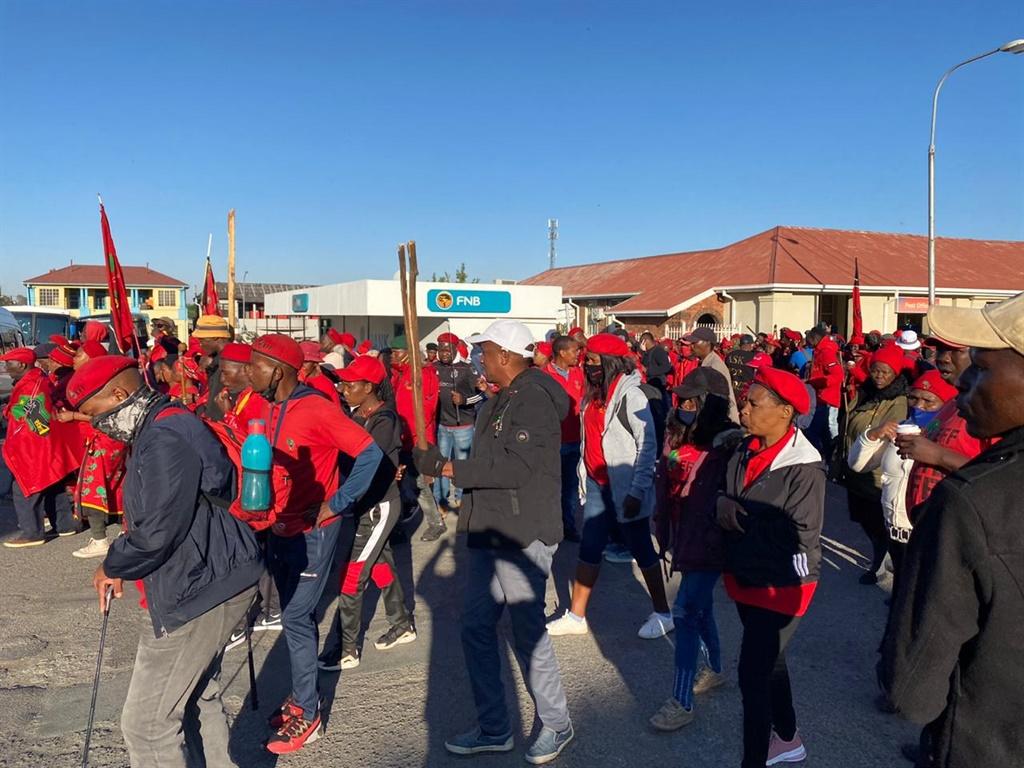 EFF members arriving in Senekal on Friday.