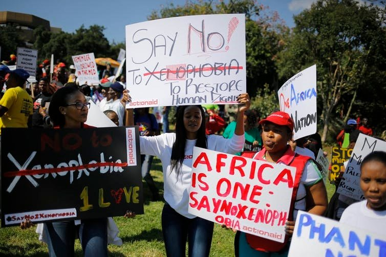 Thousands marched to demand an end to xenophobic violence in South Africa recently. Picture: Kim Ludbrook/EPA