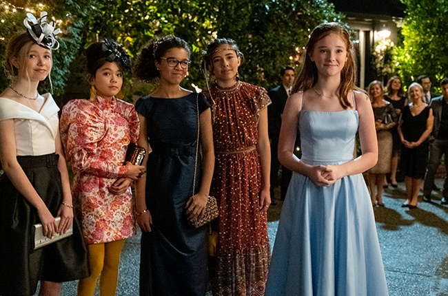 Shay Rudolph as Stacey McGill, Momona Tamada as Claudia Kishi, Malia Baker as Mary Anne Spier, Xochitl Gomez as Dawn Schaefer and Sophie Grace as Kristy Thomas in The Baby-Sitters Club.