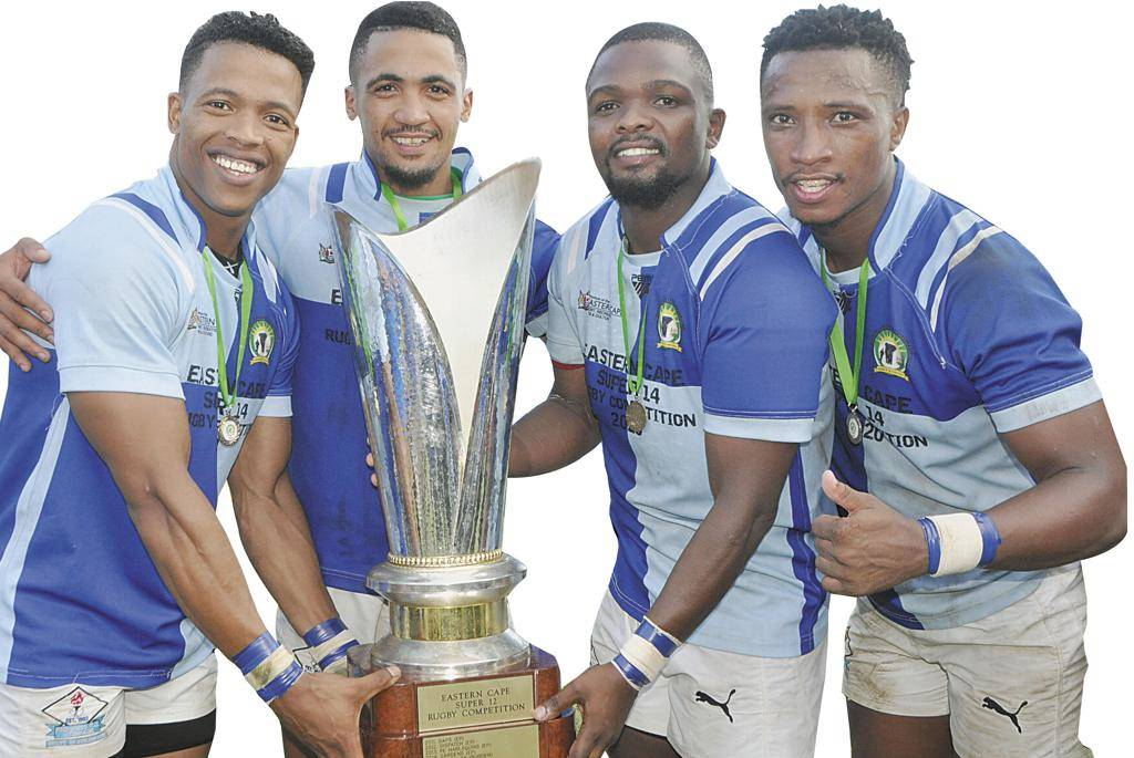 Uitenhage's Calbis Progress rugby team made history when for the first time ever they were crowned Champions of the Eastern Cape and Super 14 Champions of 2020. They beat Swallows by 28 points to 24 in a nail-biting Super 14 final at the BCM Stadium in East London. Seen above are (from left) Progress players Denver Jones, Sachin Toring, Benjamin Madlingozi and Gustav Meyer with the Super 14 trophy. (See more photos on p.12).photo:WESLEY KLUE