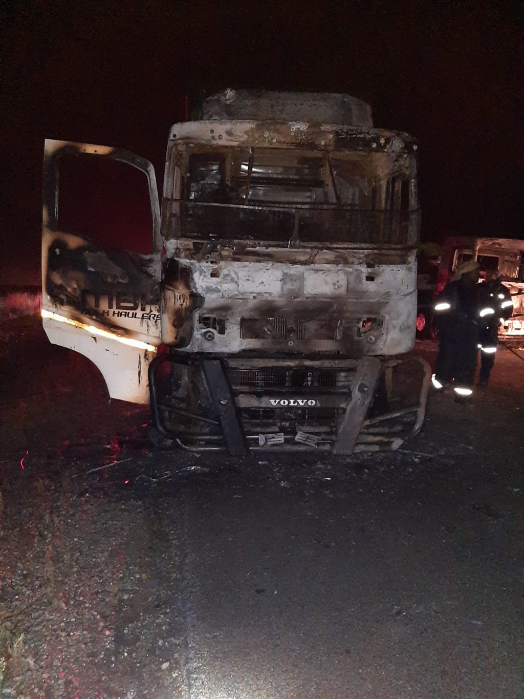 Five trucks have been set alight on Saturday night