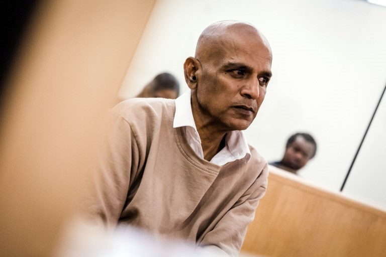 Former Durban councillor, Kessie Nair, sits at the Verulam Family Court. (Rajesh Jantilal / AFP)