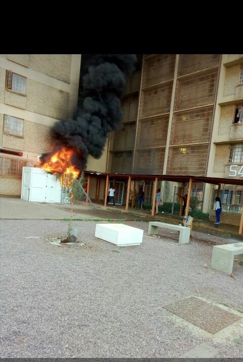 The CCT-Towers residence at TUT's North Campus. Roads have been blocked and the students have marched to the police station. Picture: Nompumelelo Magagula/City Press