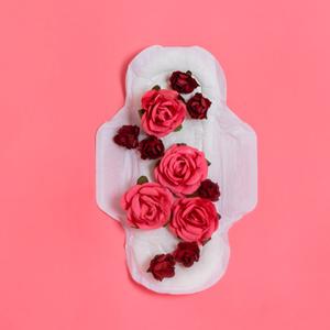 pink roses on sanitary pad