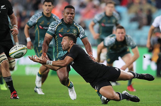 Richie Mo'unga in action during the Tri Nations and Bledisloe Cup match against the Wallabies at ANZ Stadium in Sydney on 31 October 2020.