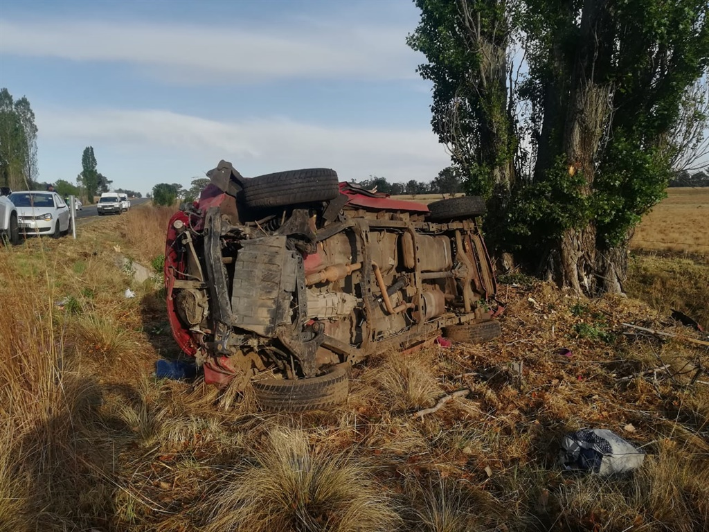 The scene where a bakkie rolled over near Clocolan, killing two and injuring several others.