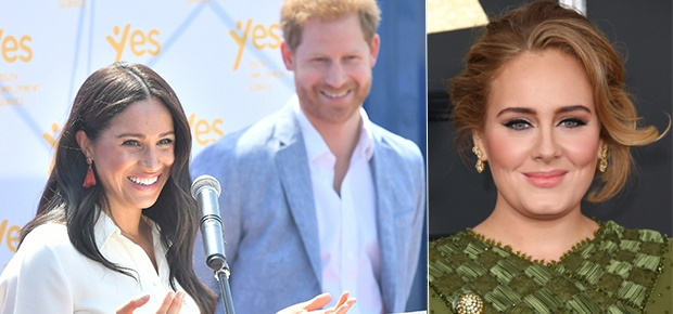 Duchess Meghan, Prince Harry and Adele (Photo: Getty Images)