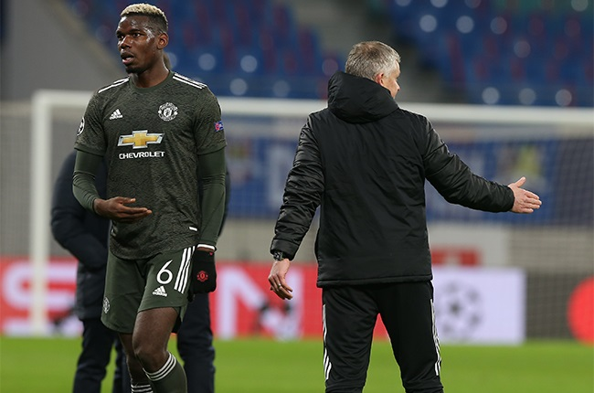 Paul Pogba of Manchester United shows his disappointment after the UEFA Champions League Group H stage match between RB Leipzig and Manchester United at Red Bull Arena on December 08, 2020 in Leipzig, Germany.