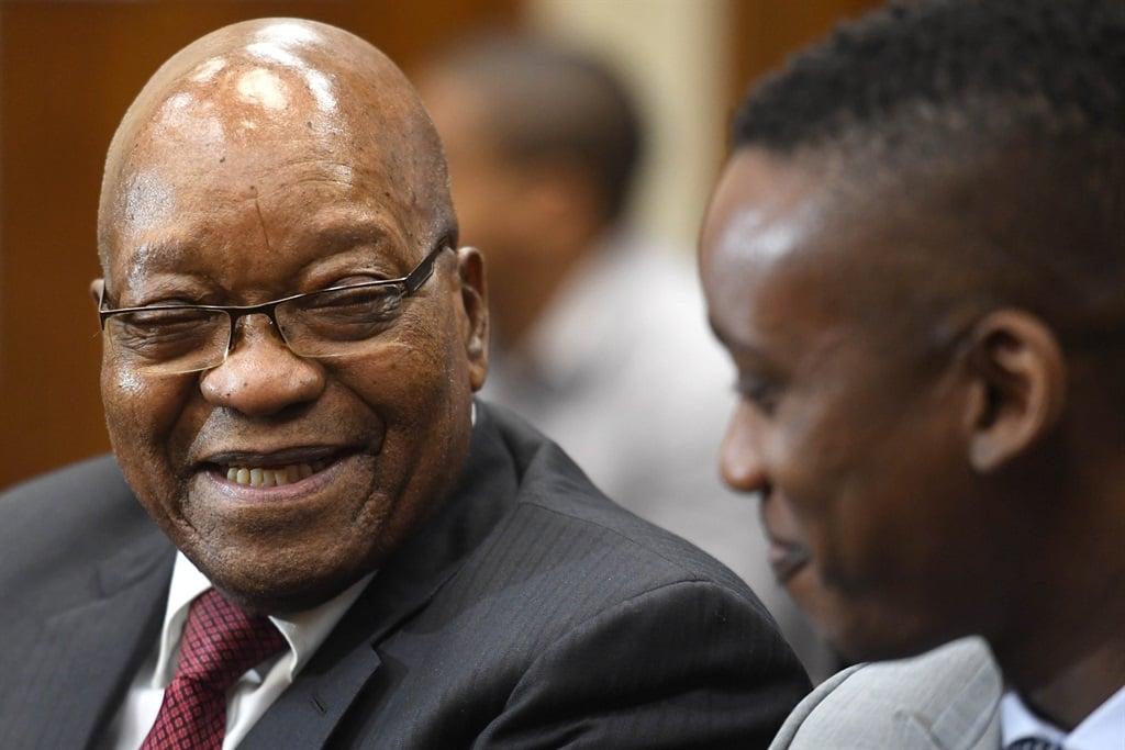 Former president Jacob Zuma supports his son Duduzane Zuma in the Randburg Magistrates' Court. Photo: Deaan Vivier