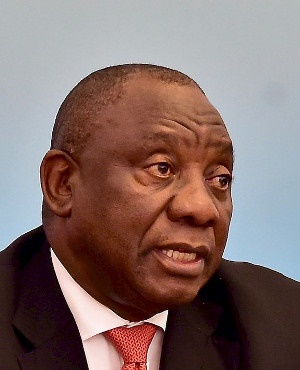 President Cyril Ramaphosa speaks at the end of the