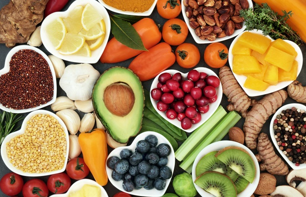 healthy fruit, vegetable and grain