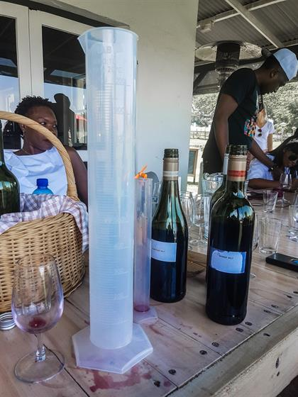 wines used in a wine blending session in stellenbo