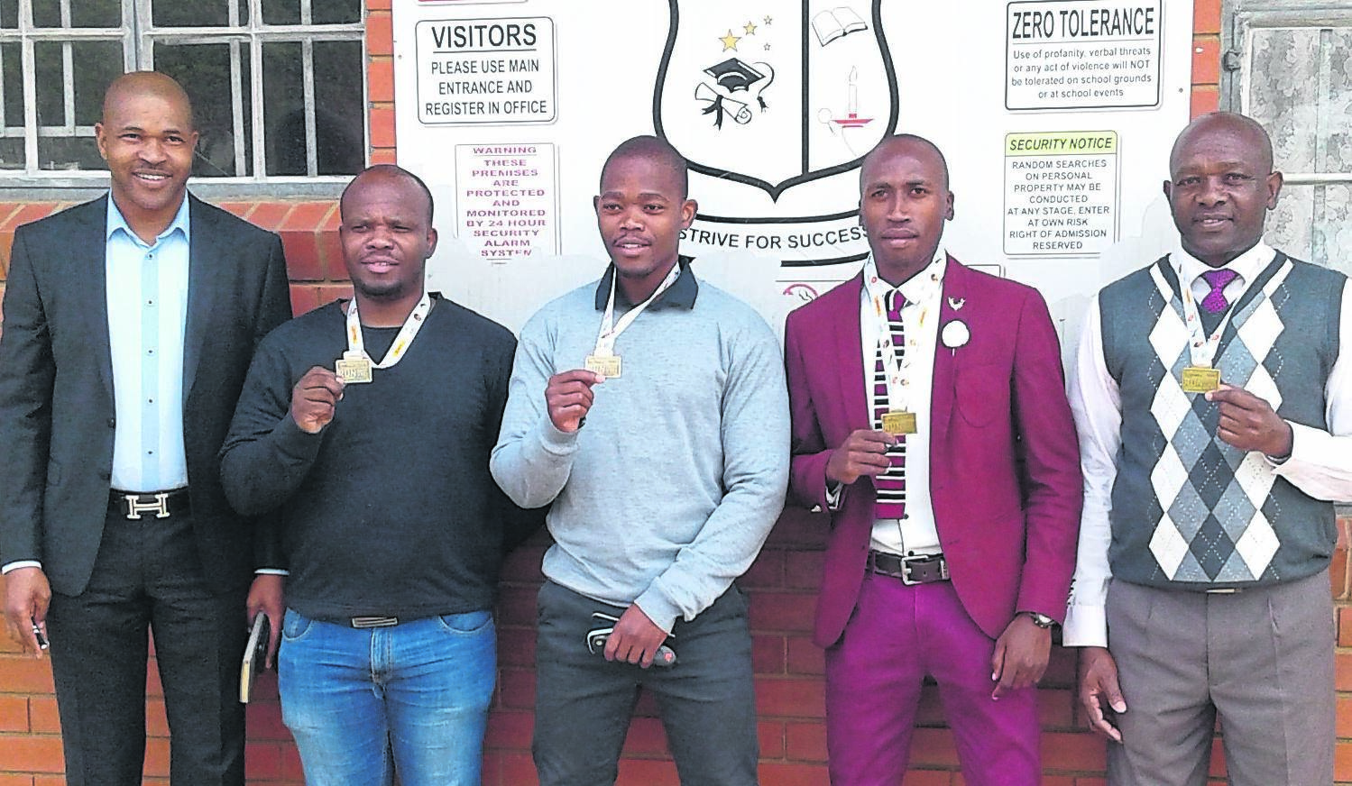 SGB chairperson J. Ngobese with race participants (from left) N.O. Dumakude, V.M. Zulu, S. Zulu, and Q.E. Khanyile. photo: supplied