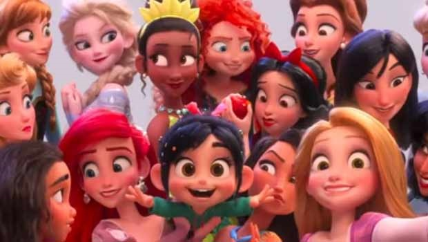 A screen shot of the Disney princesses featured in