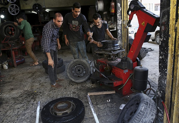 Tyre shop in Gaza