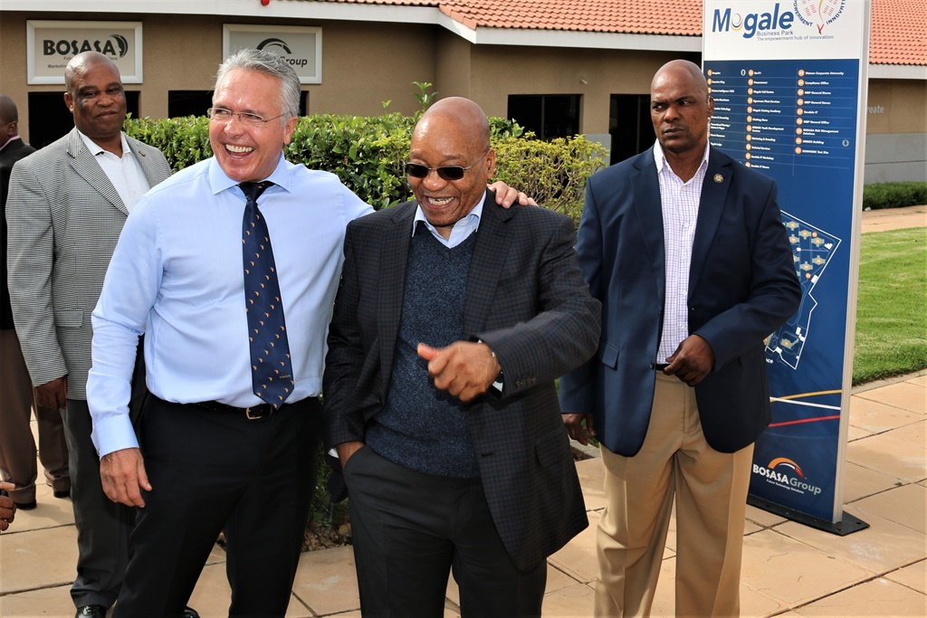 Gavin Watson, Bosasa CEO, with former president Jacob Zuma during the latter's 11 April 2015 visit to the company's Krugersdrop headquarters. (Supplied)