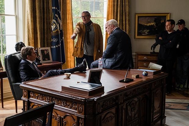 Sam Rockwell, director Adam McKay, Christian Bale,