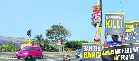 The Ban Animal Trading (Bat) team raising awareness about the effect of fireworks on animals.PHOTO: SUPPLIED