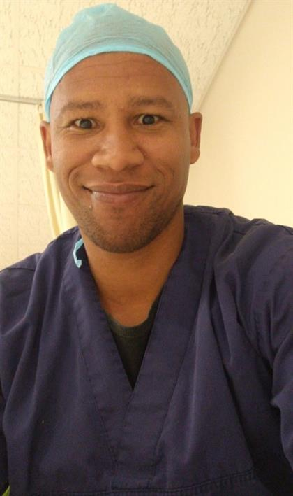 Nervous dad-to-be in his theatre scrubs