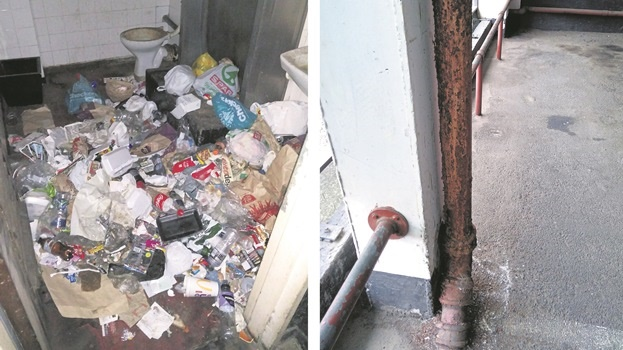 LEFT: A rusted water pipe at the Davis Alexander Building.  RIGHT: Garbage piles up in a disused toilet cubicle in the Davis Alexander Building.