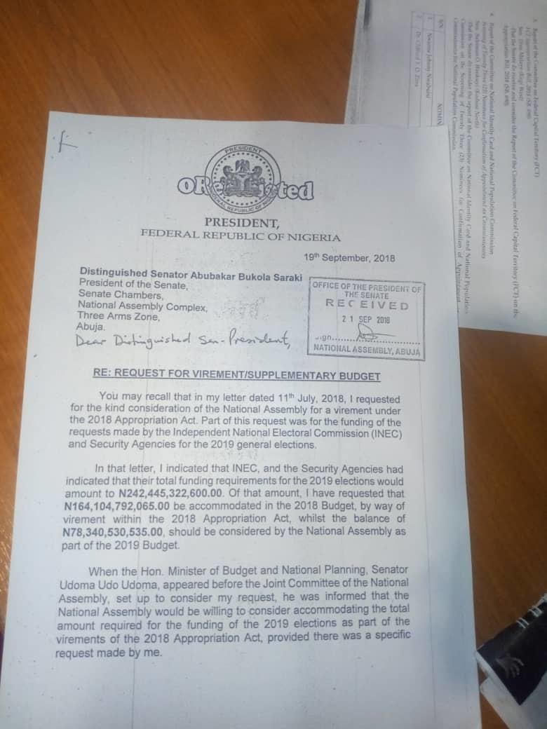 See Buhari's Letter To Saraki Seeking N252 Billion