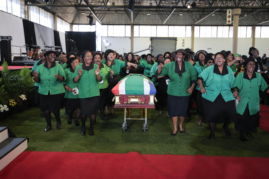 Members of the ANC Women's League sing during the funeral service of Environmental Affairs Minister Edna Molewa on Saturday. Molewa, who died at the age 61, was hailed as a woman of courage and principle who was widely respected on the world stage. Picture: Alaister Russell/Sunday Times/Gallo Images