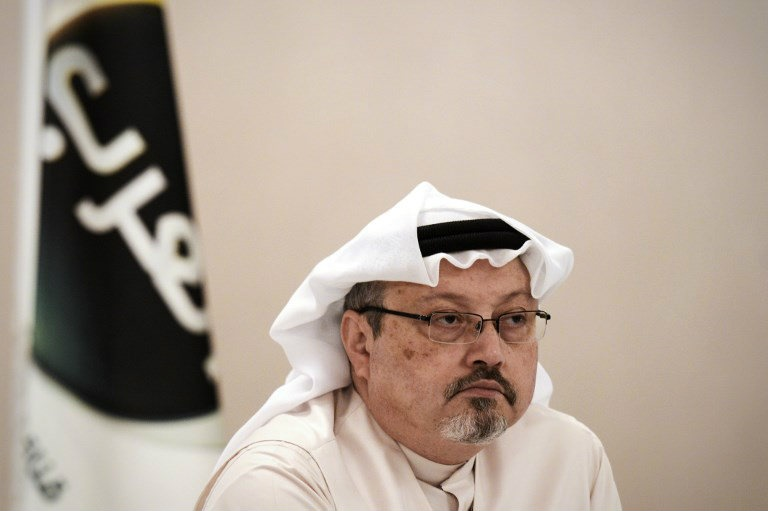 Jamal Khashoggi, looks on during a press conference in the Bahraini capital, Manama. (Mohammed Al-Shaikh/AFP)