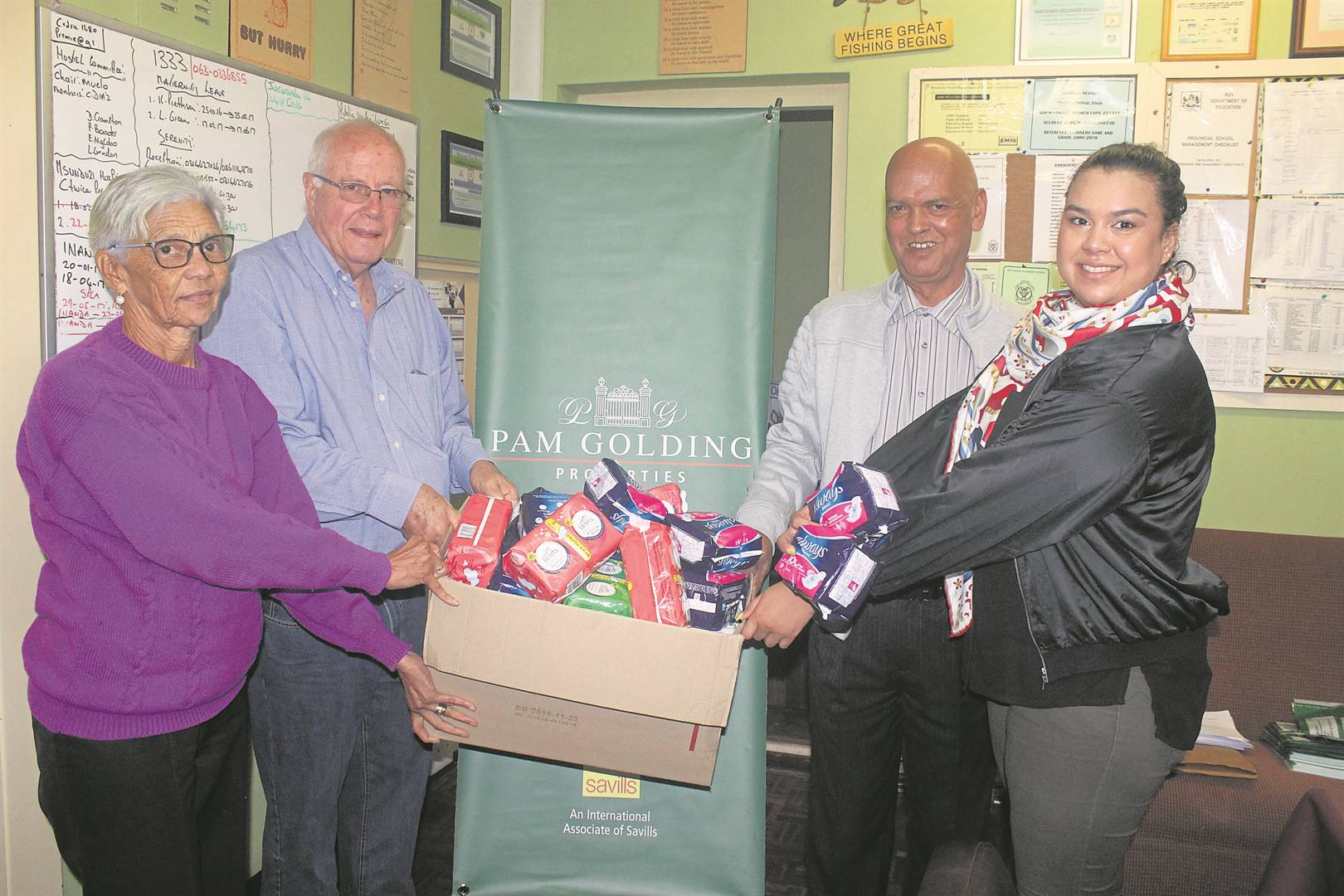 With some of the donations is (front, from left) Adrienne­ Stafford, Div du Toit, Haythorne Principal Cedric Diaz, and Rene Norman. PHOTOS: NTANDOYENKOSI DLAMINI