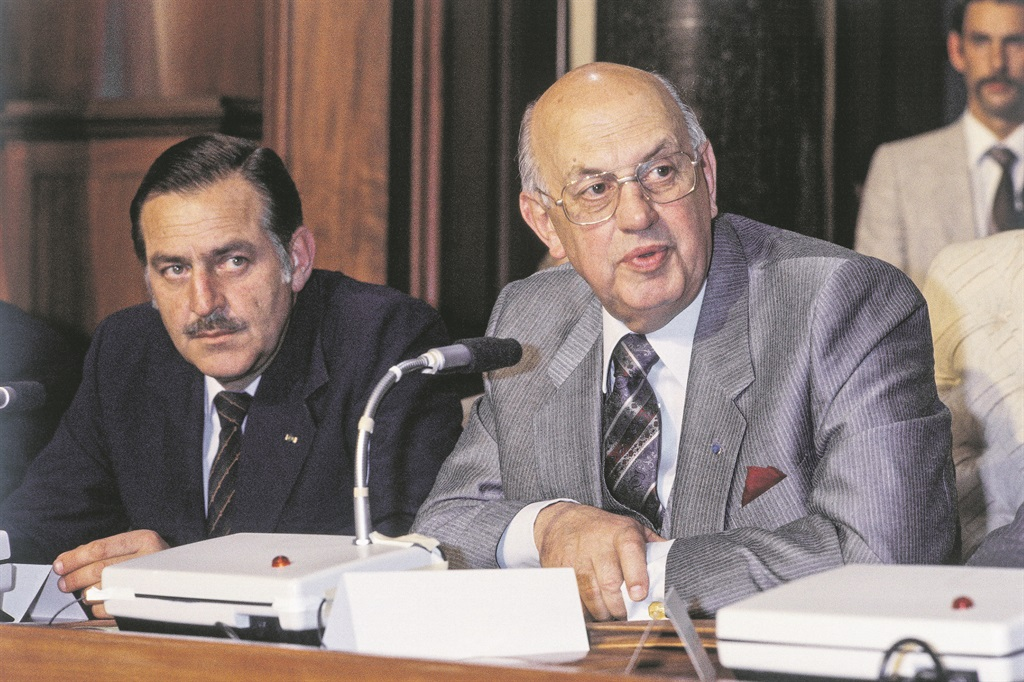 Former foreign affairs minister Pik Botha and former prime minister P.W. Botha. (Archive)