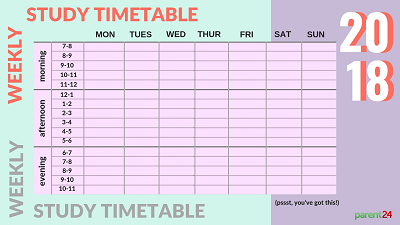 weekly timetable exams