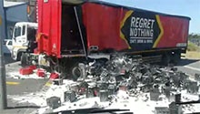 WATCH: Oh beer! Crates of alcohol crash out of truck in Cape Town