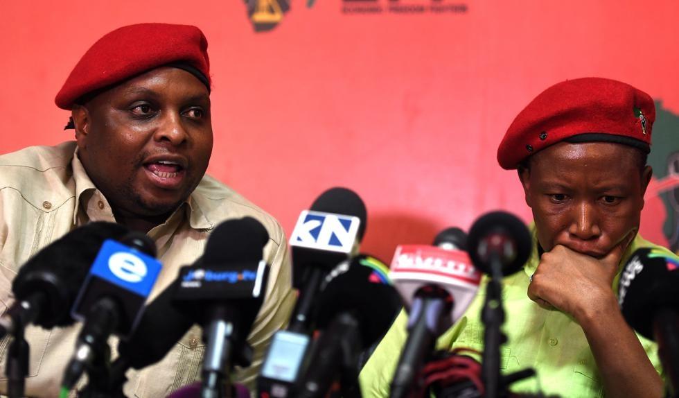 EFF deputy president Floyd Shivambu and EFF president Julius Malema address media over allegations that Shivambu profitted from fraud at VBS Mutual Bank.