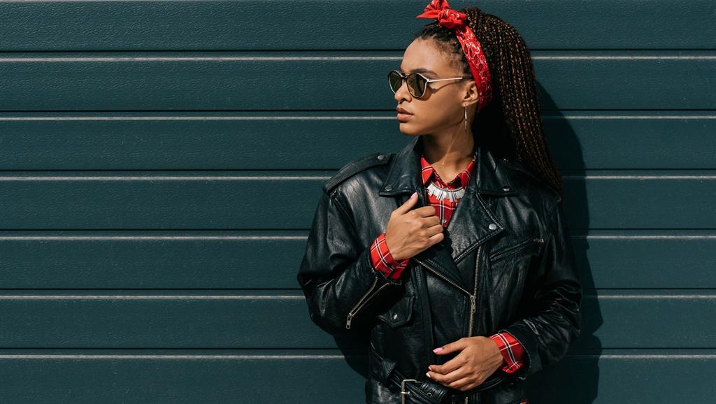 leather jacket fashion sunglasses