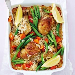 recipe, chicken, lemon, rice, bake,dinner