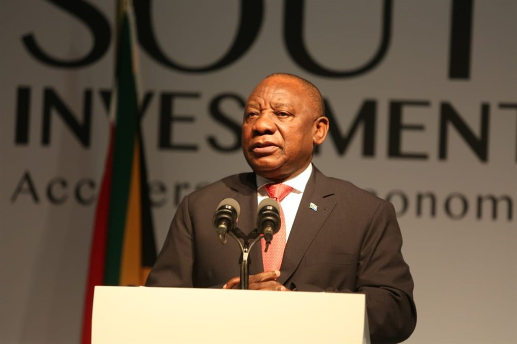 President Cyril Ramaphosa addressing the Investment Summit. (Twitter)