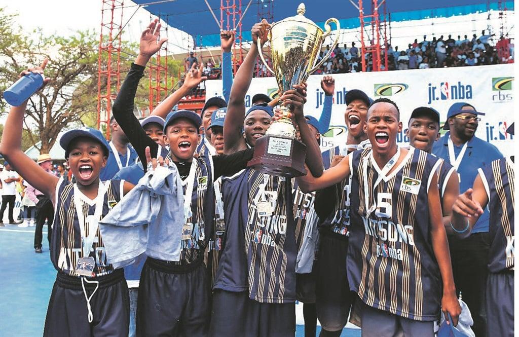 Kitsong High School celebrates winning the Junior NBA Basketball League final