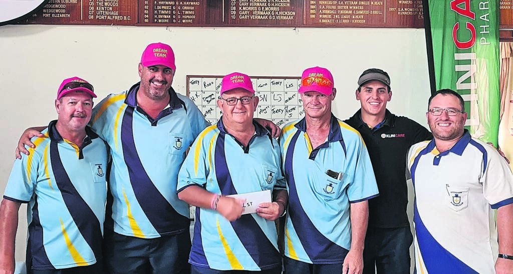 The annual Uitenhage Classic Bowling Competition was held last week. Here are (from left) André Minnie, president of the club with the winning team which consists of Francois Nell, Ouboet Nell, Deon Mostert, Jason Kennedy and Meiring de Villiers.      photos:SUPPLIED