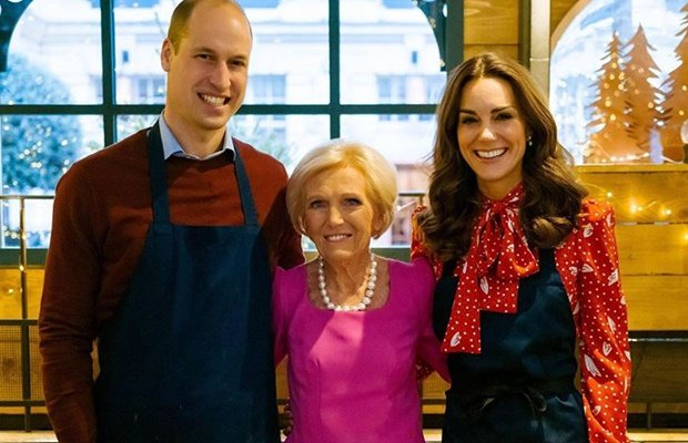 Prince William, Mary Berry and Duchess Kate on 'A Berry Royal Christmas.' (Kensington Royal Palace/Matt Porteous)