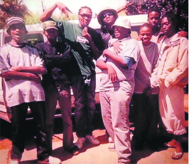 Mmabana noise HHP poses with some of his closest friends and collaborators, most of whom first got to grips with art at the Mmabana Arts Culture & Sports Foundation  Picture: Prof Sobukwe