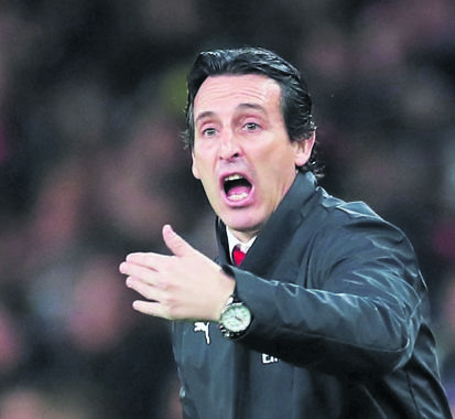 Arsenal manager Unai Emery, pictured during the League Cup in midweek, puts his troops up against Liverpool tomorrow in the highlight English Premier League fixture of the weekend. PHOTO: reuters