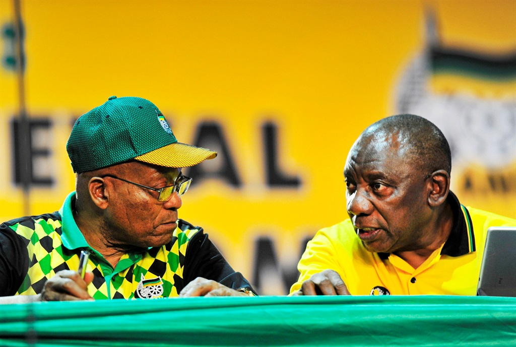Former president Jacob Zuma and President Cyril Ramaphosa at the ANC national conference in Nasrec in December 2017. Picture: Tebogo Letsie/City Press