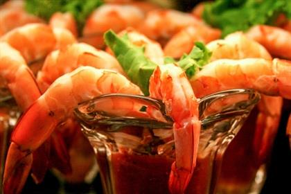 rows of shrimp cocktails at a restaurant in Califo