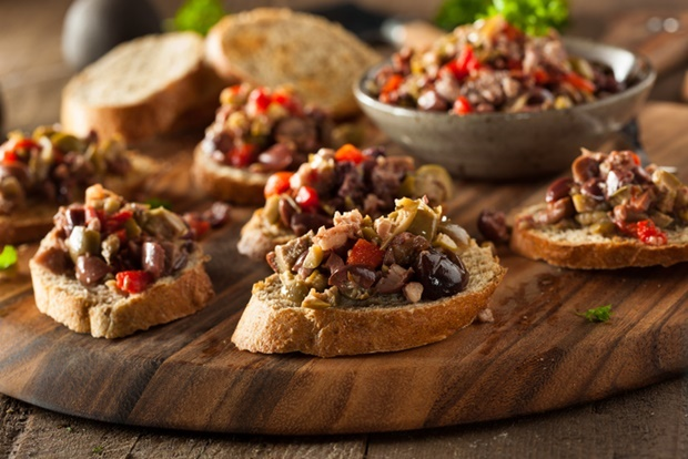 Homemade Mixed Olive Tapenade on Whole Wheat Crost