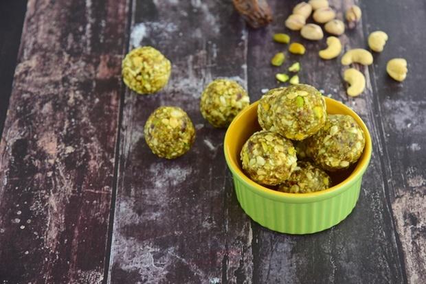 Matcha date cashew coconut pistachio energy balls