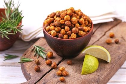 Traditional Indian cuisine. Roasted spicy chickpea