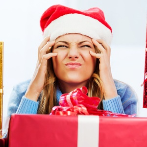 Frustrated woman during Christmas