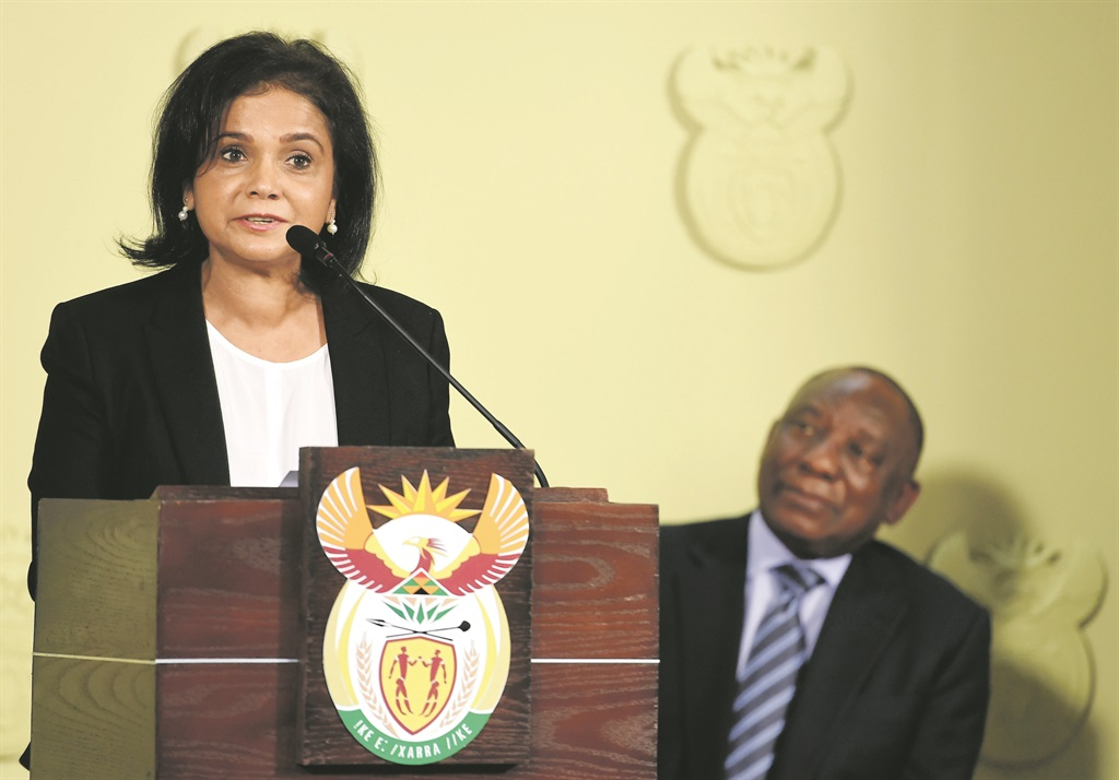 Advocate Shamila Batohi moments after being announced by president Cyril Ramaphosa to be the new NDPP head. Picture: Felix Dlangamandla