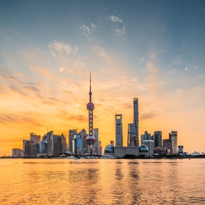 Panoramic skyline of Shanghai,China,Sunrise,Lu Jia