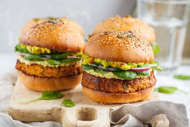 Healthy baked sweet potato burger with whole grain